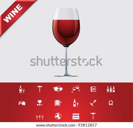 Universal glyphs 24. Wine - stock vector