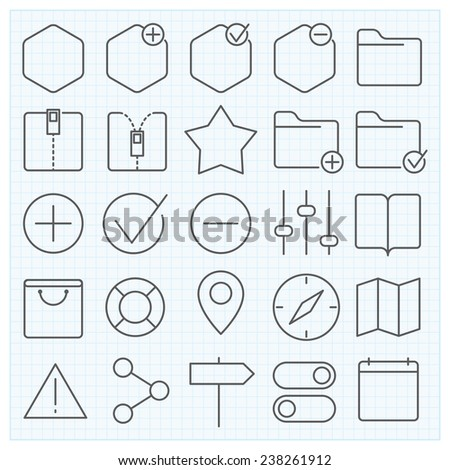 Universal GUI vector icons set for web design and applications - stock vector