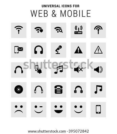 Universal Icon Set. 25 universal icons for website and app. Isolated Elements. flat, solid, mono, monochrome, plain, contemporary style. Vector illustration - stock vector