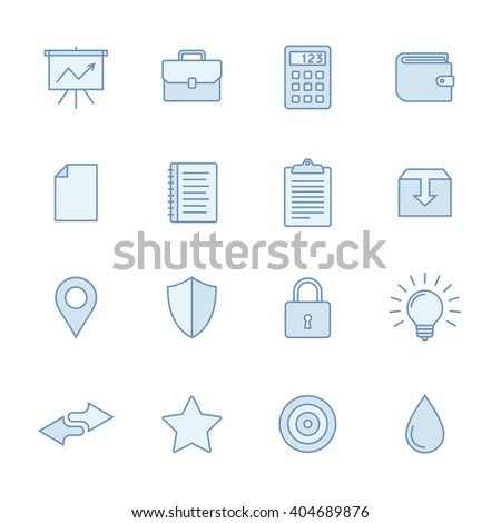 Universal line icons set in light blue colors. Simple outlined icons. Linear style - stock vector