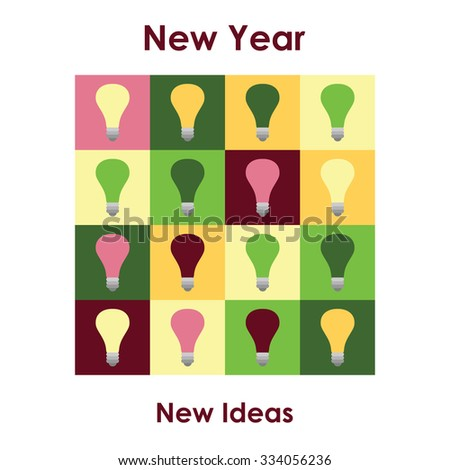 Universal new year greeting card with New Year  for New Ideas best wishes text - stock vector