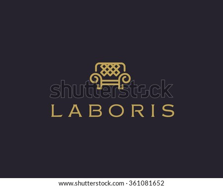 Universal premium furniture logo. Luxury universal interior design logotype symbol. Style line couch sofa chair icon sign. - stock vector