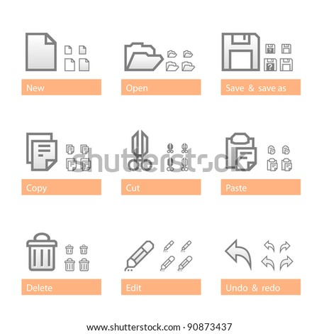 Universal software icon set. Icon sizes are adapted to three dimensions - stock vector