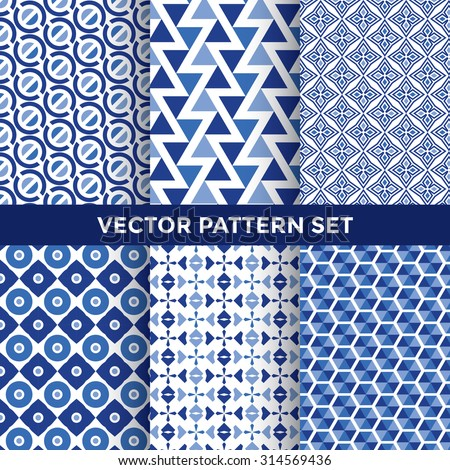 Universal Vector Pattern Set - Collection of Six Blue Geometric Pattern Designs on White Background - stock vector