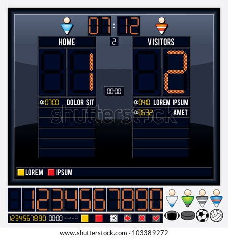 Universal Vector Scoreboard for your Text - stock vector