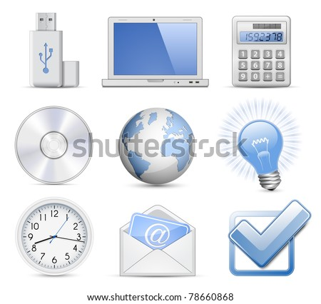Universal Web Icon Set - Office. Highly detailed vector icons - stock vector