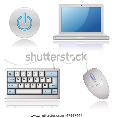 Universal Web Icons - Computers. Highly detailed icons with a reflection. - stock vector