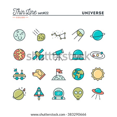 Universe, celestial bodies, rocket launching, astronomy and more, thin line color icons set, vector illustration - stock vector