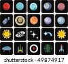Universe space icon set. Planets solar system - stock vector