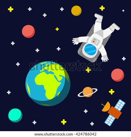 Universe vector template background with spaceman and satellite. Outer space with astronaut, planets and stars. - stock vector