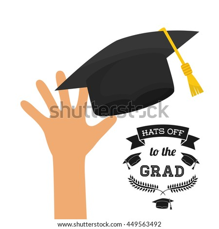 University and graduate concept represented by graduation cap and hand icon. Colorfull and flat  illustration.