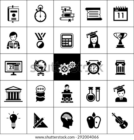 University and high school education icons black silhouettes set isolated vector illustration - stock vector