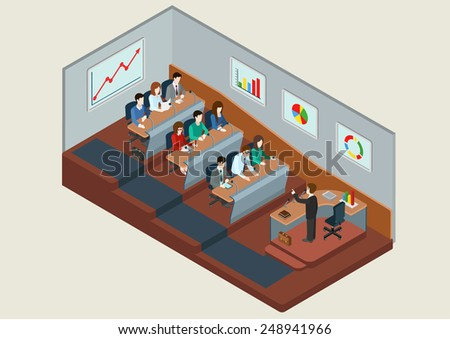 University class auditory lecture. Flat 3D isometric interior of classroom with teacher tribune and student desks. Financial accounting graphics on walls. - stock vector
