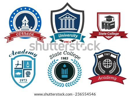 University, college and academy heraldic emblems with shields, buildings, wreaths, ribbons and education elements - stock vector