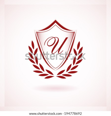 University emblem or label shield original concept red design with a laurel wreath sign - stock vector