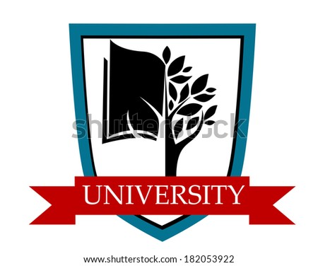 University emblem with a shield enclosing a tree and book logo depicting learning with a red ribbon banner with the text University - stock vector