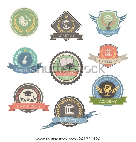 University Emblems And Symbols - Isolated  Vector Illustration, Graphic  Design college Logo - stock vector