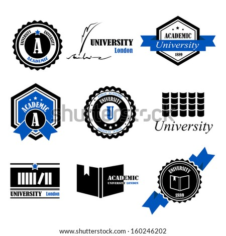 University Labels Set - Isolated On White Background - Vector Illustration, Graphic Design Editable For Your Design  - stock vector