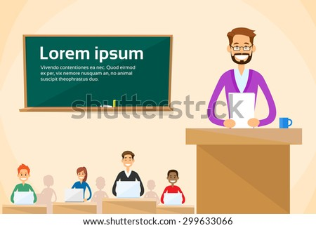 University Professor Lecture Speech Teacher College Class, Group of Students People, Business Seminar Flat Vector Illustration  - stock vector