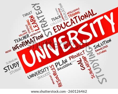 UNIVERSITY word cloud, education concept - stock vector