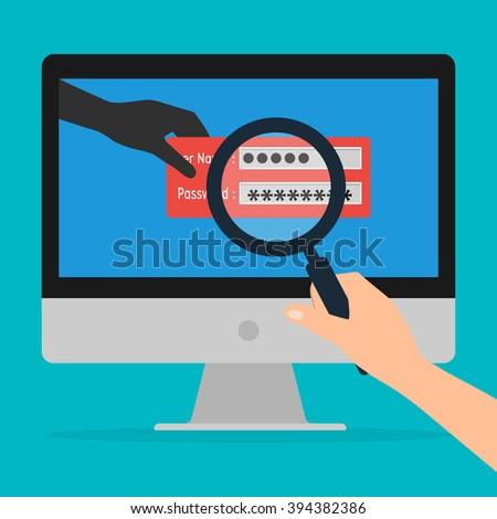 Unknown hacker with malware virus program for phishing username and password logon. Vector illustration business computer security technology concept. - stock vector