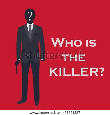 Unknown murderer with gun - stock vector