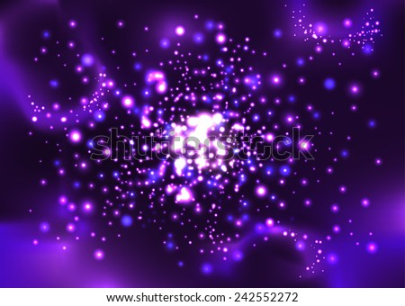 Unknown nebula, new galaxy. Space stars wallpaper. Vector abstract background - stock vector