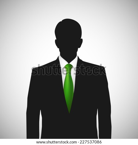 Unknown person silhouette whith green tie. Profile picture, silhouette profile - stock vector