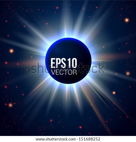 Unknown planet eclipse. Abstract cosmic background with place for Your text. Vector illustration. - stock vector