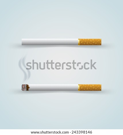 Unlighted and burning cigarettes on pale background - stock vector