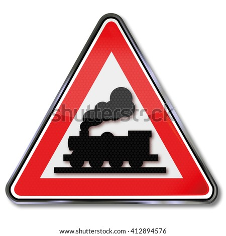 Unlimited railroad crossing and steam locomotive - stock vector