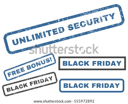 Unlimited Security rubber seal stamp watermark with bonus images for Black Friday offers. Vector cobalt and gray stickers. Caption inside rectangular shape with grunge design and dirty texture.