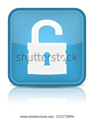 Unlock icon. Sign with reflection isolated on white. Vector illustration - stock vector