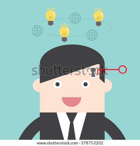 Unlock mind for passive income financial freedom. Flat design for business financial marketing banking advertising event concept cartoon illustration. - stock vector