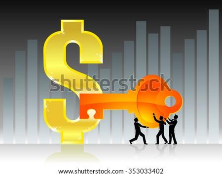 Unlocking Profitability-Team effort business success solution - stock vector