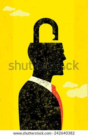 Unlocking the mind Businessman unlocking his mind to find new solutions. The man is on a separate labeled layer from the background. - stock vector