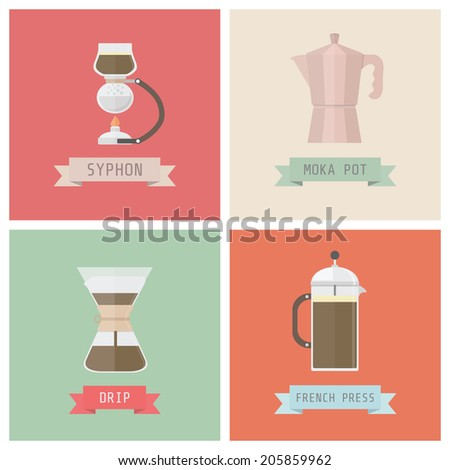 unplug coffee methods, syphon, moka pot, drip, french press, pastel style - stock vector