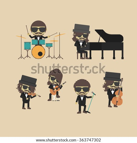 unplug music band, hipster musician - stock vector
