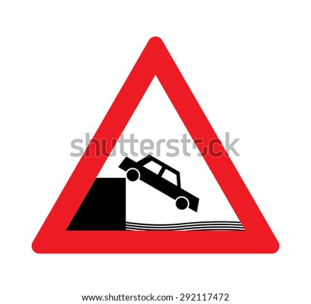 Unprotected quayside or riverbank warning traffic signs. - stock vector