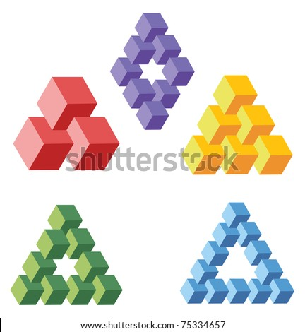 unreal geometrical symbols from cubes, vector - stock vector