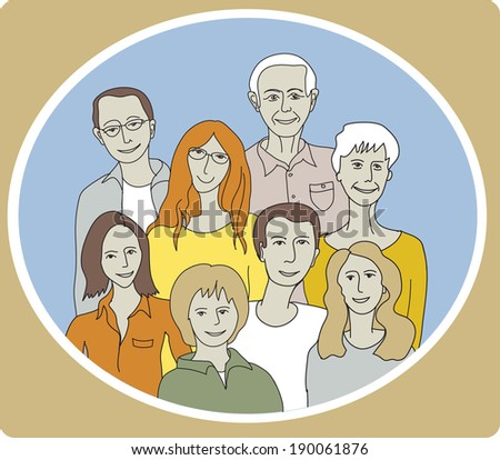 Unrecognizable abstract happy family portrait in frame. Color vector illustration - stock vector