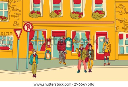 Unrecognizable fashion people walking on the abstract street. Color vector illustration. - stock vector