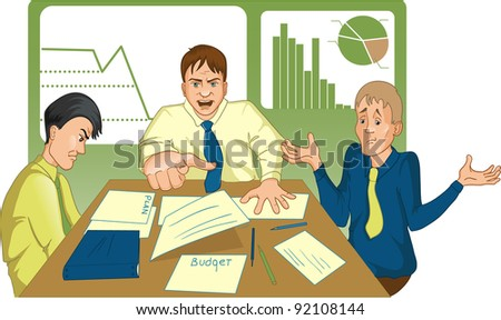 Unsuccessful meeting. Vector image of a meeting where the boss shouts at employees and points with his finder on someone from them. - stock vector