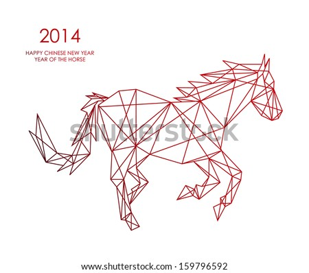 Unusual abstract triangle web composition animal shape: 2014 Chinese New Year of the Horse illustration. Vector file organized in layers for easy editing. - stock vector