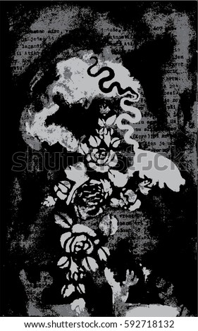 Unusual abstract vector painting. Animals, snake, pig, swine, deer. Black, white and grey gothic image. Backdrop.