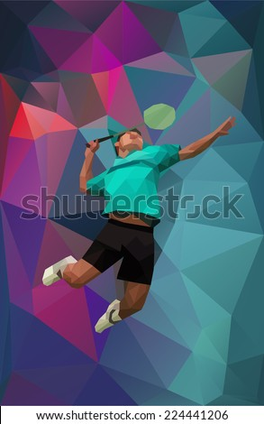 Unusual colorful triangle shape: Geometric polygonal professional badminton player,  during smash - stock vector