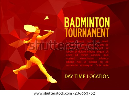 Unusual colorful triangle shape: Geometric polygonal professional badminton player, pattern design, vector illustration with empty space for poster, banner, web. Badminton sport template - stock vector