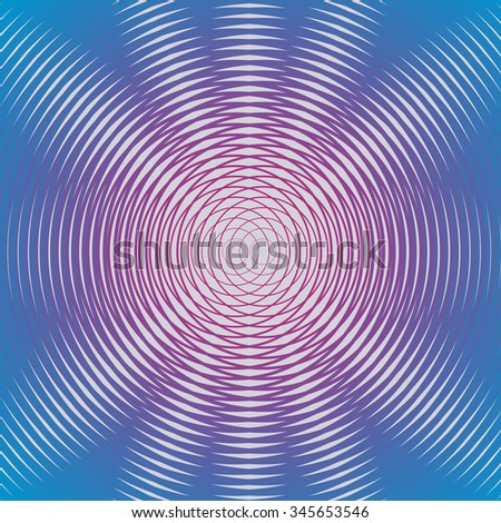 Unusual concentric and centripetal whorl. Modern and hypnotism movement, ripple contour shape. Hypnotic artistic effect. Vibrant fun color lines. Trendy poster. EPS10