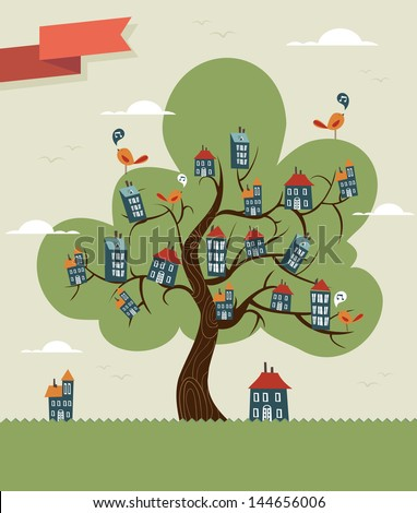 Unusual conceptual home tree town. Vector illustration layered for easy manipulation and custom coloring. - stock vector