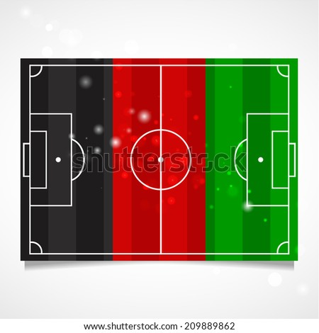 Unusual design of a football field. Championship. Flat. Standard. Used as card, greeting, printed materials. Stock vector. Icon Image. Picture. National Independence Day. Standard. Flag of Afghanistan